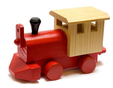 Foto de Old vintage wooden toy train on white background - Imagen libre de derechos