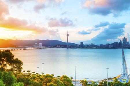 Macau cityscape sunset