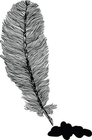 black and white feather illustration with ink spot