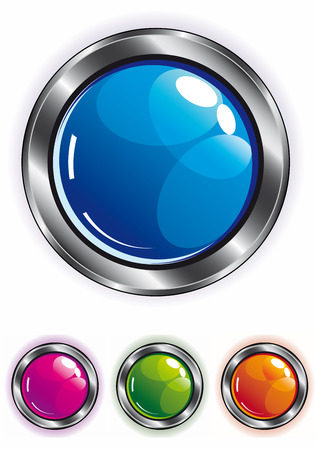 elegant shiny web button in blue pink green and orange with metal frame