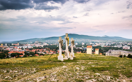 Jesus Christ Cross on Calvary with City of Nitra and Zobor Mountain in Background