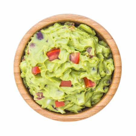 Guacamole in Wooden Bowl Isolated on White Background