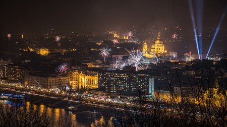New Year Celebration. Fireworks over Budapest, Hungary.