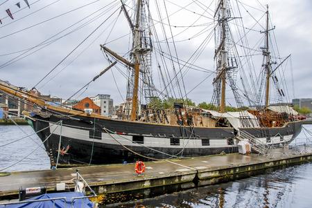 Dublin, Ireland, 24 October 2012: Sailboat on River