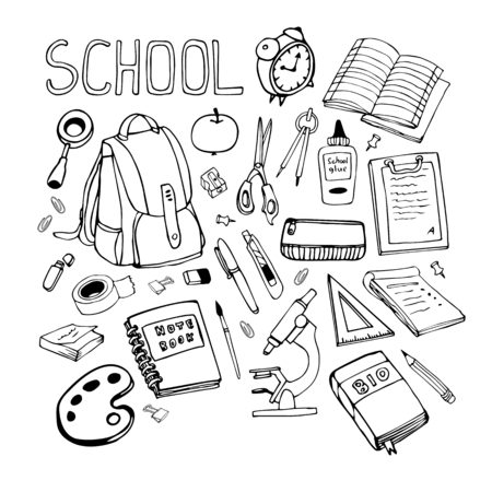 Back to school hand drawn line illustration. Set of school supplies.