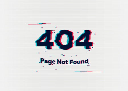 Illustration pour Error 404 page not found. Error with glitch effect on screen. Vector illustration for your design - image libre de droit