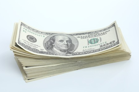 Photo pour Dollar banknotes on white background. National American currency - image libre de droit