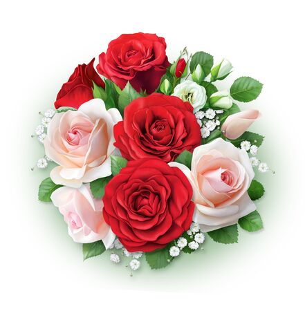 Photo pour Large beautiful bouquet of red and cream roses. Hand-drawn picture for greeting cards and invitations. - image libre de droit