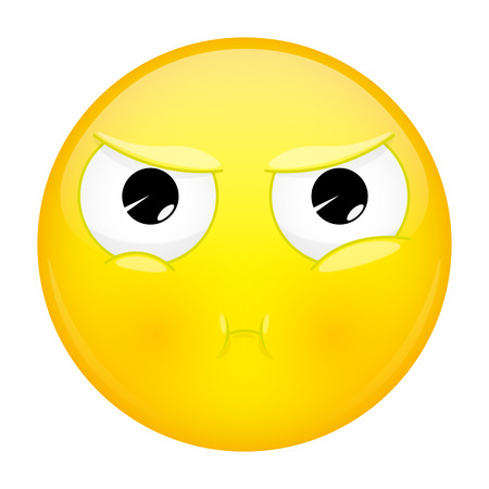 Sulk emoji. Bad emotion. Pout emoticon.