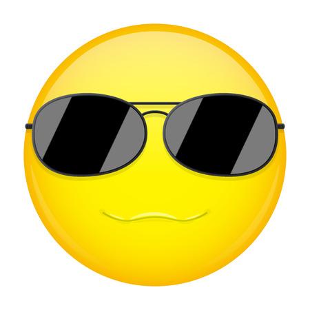 Sweet smile emoji. Smirk emotion. Cool guy with sunglasses emoticon. Vector illustration smile icon.