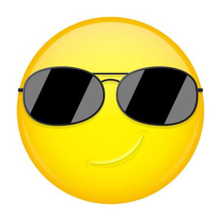 Happy emoji. Smirk emotion. Cool guy with sunglasses emoticon. Vector illustration smile icon.