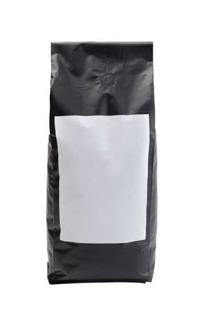 Foto für Black plastic bag with white label isolated on white. - Lizenzfreies Bild