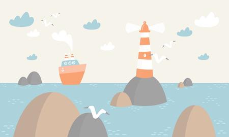 Illustration pour ocean scene with lighthouse, boat, clouds and birds Vector illustration. - image libre de droit