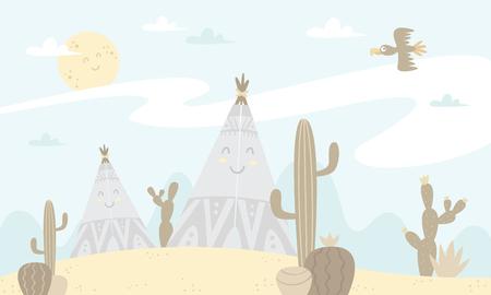 Ilustración de tents and cacti Vector illustration. - Imagen libre de derechos