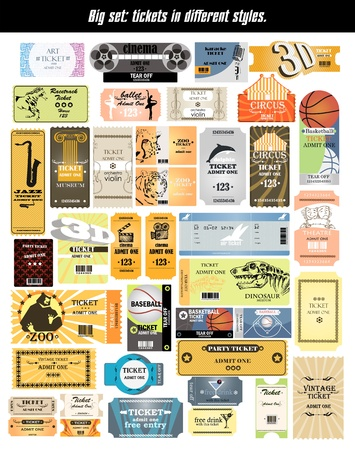 big set  tickets in different styles
