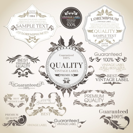 Illustration for  set  calligraphic design elements and page decoration, Premium Quality and Satisfaction Guarantee Label collection  - Royalty Free Image