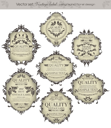 set  vintage labels - inspired by floral retro originals