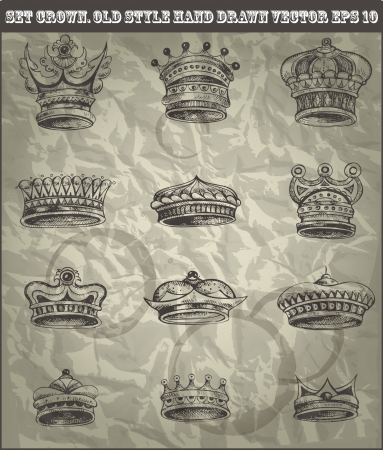 set antique crown in old hand drawn style