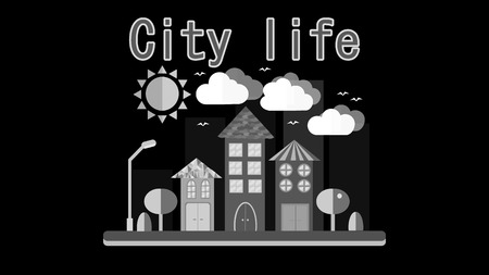Downtown buildings in b & w of modern city skyline with skyscrapers, trees,  tall towers and streets in shades of black, white and grey Clip Art |  k12139928 | Fotosearch
