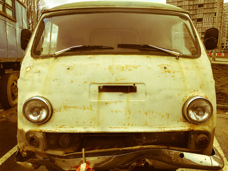 Photo for Old retro vintage hipster rusty oxidized metal round car minibus for hippies from the 60s, 70s, 80s, 90s, 2000s. - Royalty Free Image