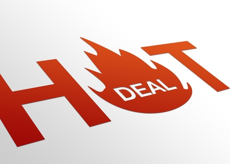 High resolution perspective graphic of a hot deal sign.