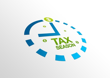 High resolution perspective graphic of a clock with words tax season.