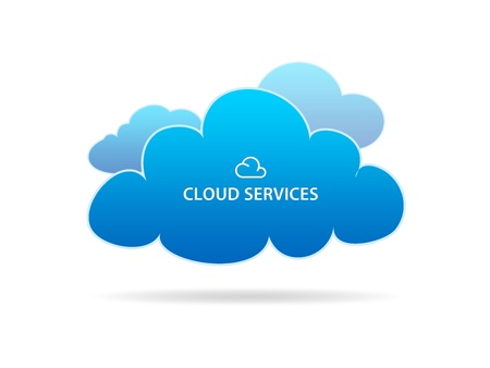 High resolution graphic of several different clouds with the words cloud services on white background.
