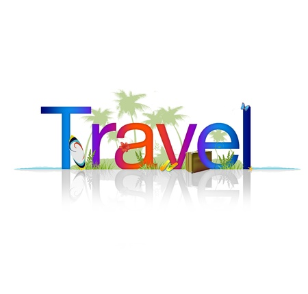 Foto de High Resolution graphic of the word Travel on white background with reflection. - Imagen libre de derechos