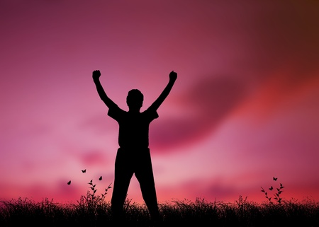 High resolution graphic of a man silhouette with his arms raised in worship