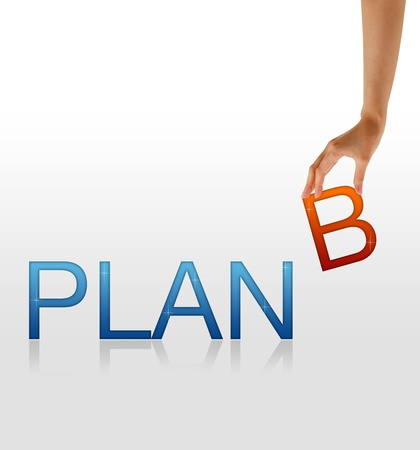 Photo for High resolution graphic of a hand holding the letter B from the word Plan B - Royalty Free Image
