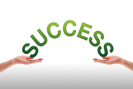 High resolution graphic of hands holding the word success.