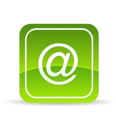 High resolution green email icon on white background.