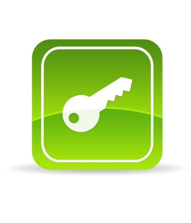 Photo pour High resolution green key icon on white background. - image libre de droit