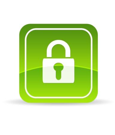 Photo pour High resolution green lock icon on white background. - image libre de droit