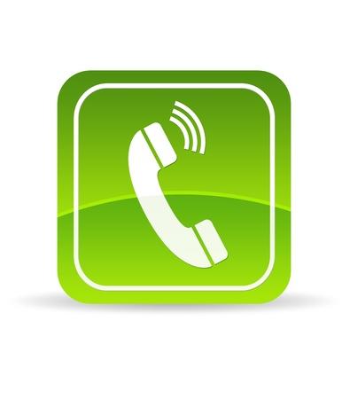 Photo pour High resolution green phone icon on white background. - image libre de droit