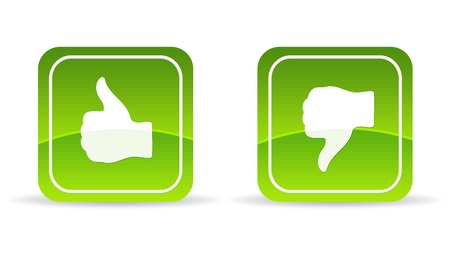 High resolution green thumbs up and down Icon on white background.