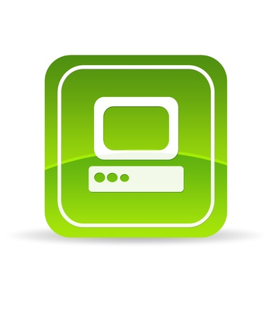 High resolution green computer icon on white background.
