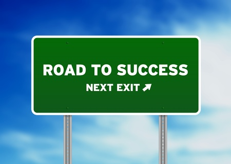 High resolution graphic of a Road to Success Highway Sign on Cloud Background.