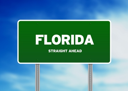 High resolution graphic of a florida highway sign on Cloud Background.