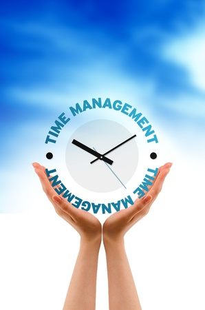 High resolution graphic of hands with Time Management Clock.