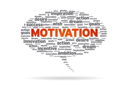 Speech bubble with the word motivation on white background.