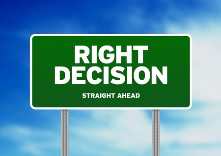 Green Right Decision Road sign on Cloud Background.