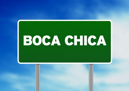 Green Boca Chica, Dominican Republic highway sign on Cloud Background.