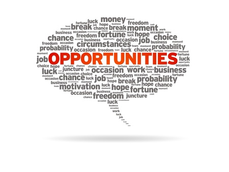 Speech bubble with the word opportunities on white background.
