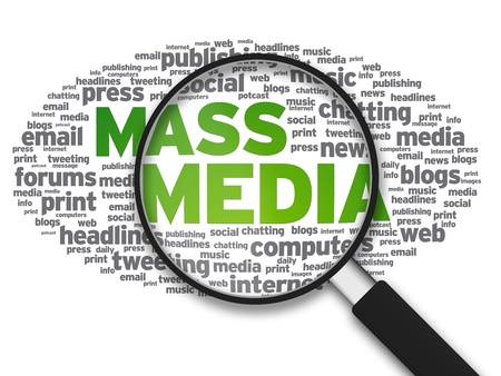 Photo for Magnified illustration with the words Mass Media on white background. - Royalty Free Image