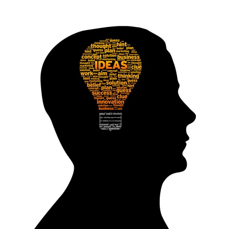 Silhouette head with ideas light bulb on white background.