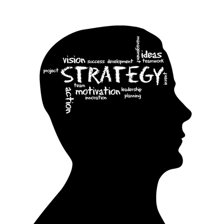 Silhouette head with the word Strategy on white background.