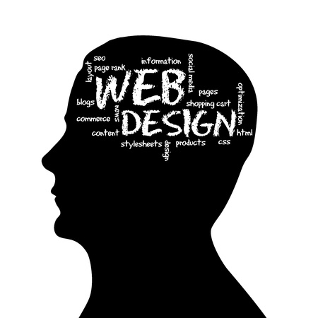 Silhouette head with the word Web Design on white background.