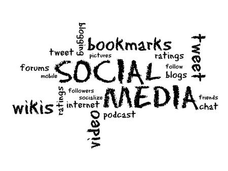 Social Media Chalk Drawing illustration on white background