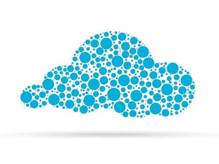 Cloud illustration designed out of dots islolated on white background.